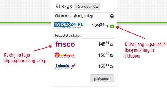 Przykładowy koszyk zakupów na Kwit.pl